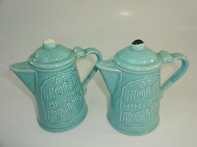 "Vintage Blue Ceramic Pottery ""Home On Your Range"" Country Western S+P Set"