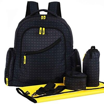 NEW Mens Baby Diaper Bag Black Travel Backpack w Yellow Changing Pad Organizer