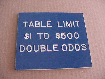 Casino Used DOUBLE/TRIPLE ODDS CRAP GAME TABLE LIMIT SIGN $1/$500 BLUE ACRYLIC
