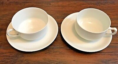 Haviland France Tea Cups and Saucers Set of 2 White Off White