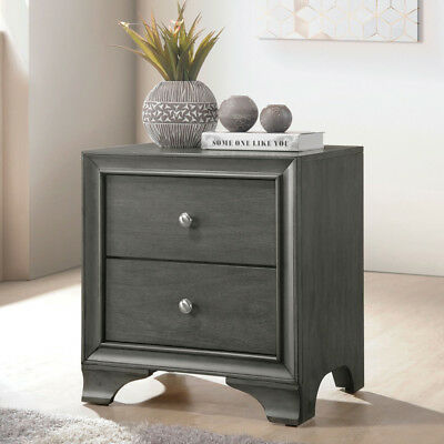 Blaise Bedroom Gray Oak Wooden Nightstand Side Stand 2 Drawers USB Charging Dock