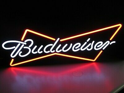 NEW Budweiser w/ Crown Bowtie Led Opti Neo Neon Beer Bar Sign Light Man Cave Pub