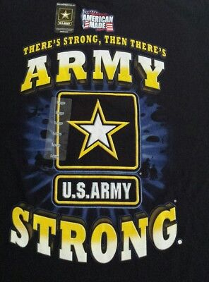 US ARMY STRONG Large T-Shirt 100% Cotton Black NWT L