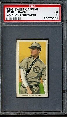 1909-11 T206 Sweet Caporal 350/25 Ed Reulbach No Glove PSA 5 POP 1 NONE Higher