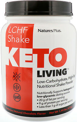 Keto Living LCHF Shake, Nature's Plus, 15 Servings Chocolate