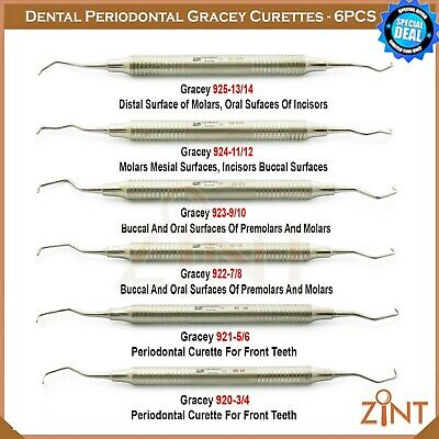 Set Of 6 Gracey Curettes Root Planning Periodontal Calculus Remover Perio Tools