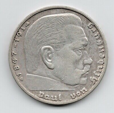 1938 G Germany 2 Reichsmark Silver coin of the 3rd Reich Era----XF-AU.