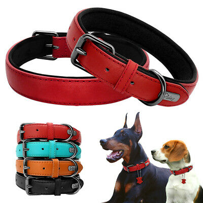 Genuine Leather Dog Collars Soft Padded for Small Large Dogs Labrador Red Black