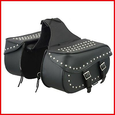 2 Piece Motorcycle Leather Saddle Bags Universal Fit Western Black Saddle Bags