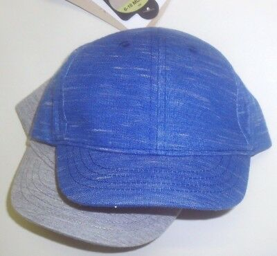 New 2 Pack Baby Boy's Sun Hats Caps 6-18 Months Marks & Spencer Upf40+ Blue Grey