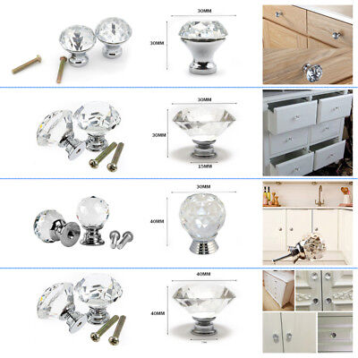 30MM/40MM Diamond Crystal Glass Door Knob Cupboard Drawer Cabinet Kitchen Handle
