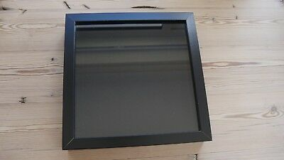 Collectors display case, buttons, badges, medals, wall hang frame, BLACK/BLACK