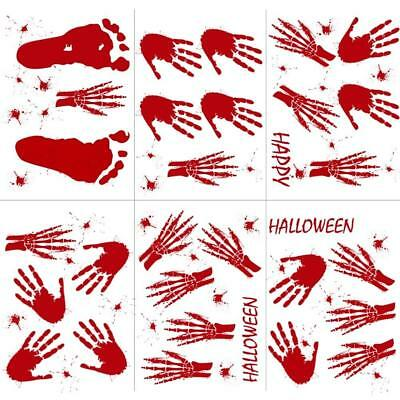 OurWarm 60pcs Handprint Footprint Halloween Window Clings, Horror Vampire