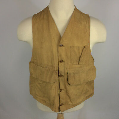 Vintage 50s 60s Worn Distressed Canvas Shotgun Shooting Hunting Vest Jacket