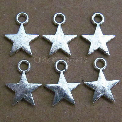 100pc Five-pointed star Small Pendants Charm Accessories Jewellery Making V103