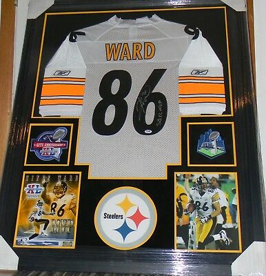 8c553a6e76b Hines Ward Signed Jersey Framed Suede Matted Uv Glass W/Patches Psa Dna  Steelers