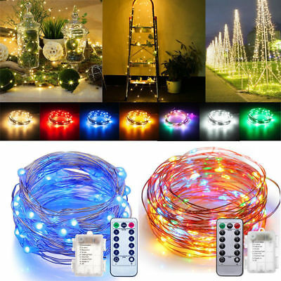 5M 50 LED Battery Copper Wire Fairy String Lights w/Remote Control Dimmer Party