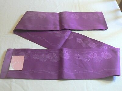 "JK 214 ""Purple Chrysanthemums"" New Japanese Hanhaba Obi for Kimono"