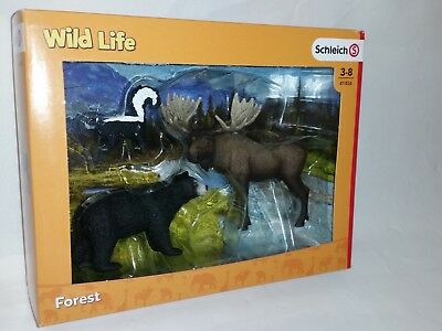 NEW SCHLEICH 41456 North American Forest Animal Playset Black Bear Moose Skunk