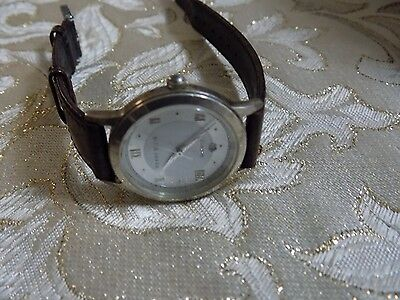 Ladies Beautiful PERRY ELLIS  Sterling Silver Brown Leather Band Quartz Watch