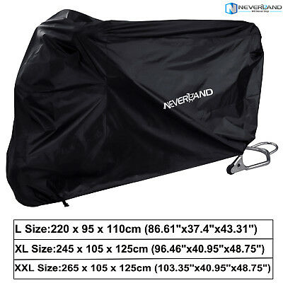 NEVERLAND L XL XXL Motorcycle Cover Waterproof Bike Outdoor Rain Protector Black