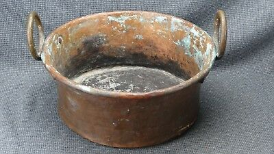 Large Antique Hammered & Dovetailed Copper Pot with Brass/Bronze Handles