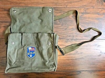 Vintage Army Military Canvas Green Bag Messenger with USA Patch