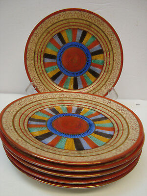 """SET of SIX Vintage JAPAN Hand Painted """"Thousand Faces""""  7 1/4 inch Plates"""
