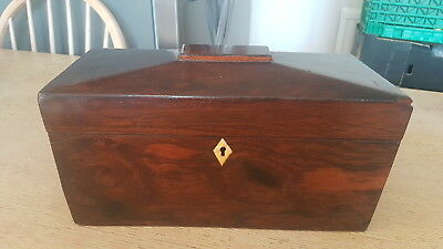 Antique Sarcophagus Shaped Tea Caddy/ Twin Liners Bovine Bone Inlay