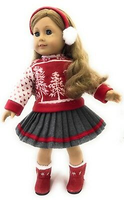 "Red Winter Sweater, Skirt, & Earmuffs for 18"" American Girl Doll Clothes"