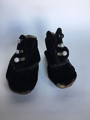 Antique Vintage Old 1900s Ball Button Black Shoe Baby Child Velour Type Material