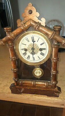 VINTAGE HAC ONE DAY STRIKE BAMBOO FRAMED WOODEN CLOCK No 7007