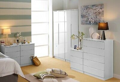 Charleston White Wardrobe + Drawers Set Fully Ready Assembled Bedroom Furniture
