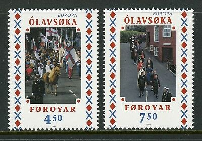 Faroe Islands Scott #336-337 MNH Europa Olavsoka Festival FLAG $$