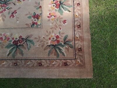 Antique Vintage 1950s Square Floral Rug 9ft x9ft