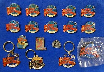 Worldwide Collection of 17 Planet Hollywood Restaurant Lapel Pins and Key Rings