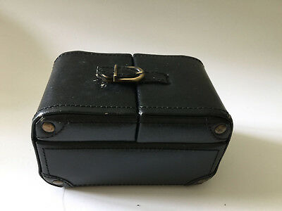 Wolf Designs Travel Black Leather Jewelry Box Many Compartments Versatile