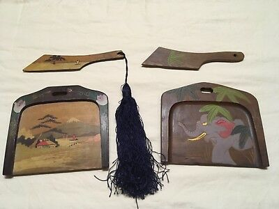 Pair of Vintage Hand Carved Dust Crumb Catcher Tray Sweeper Made In Japan
