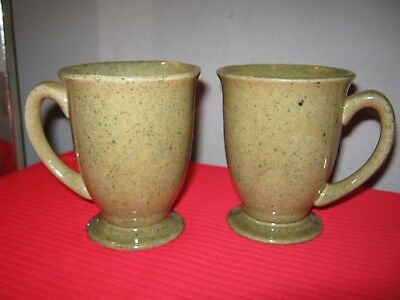 BAILEYS Irish Creme Mustard Color Speckled Footed Coffee Tea Mugs Cups - (2)
