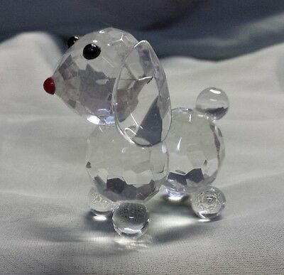 Crystal Cut Glass Dog with Red Nose Figure