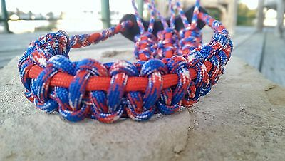 Archery Bow Sling 550 Paracord Red white blue & Red + 3 zipper pulls