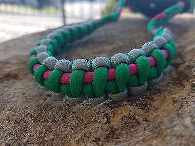 Archery Bow Sling 550 Paracord Hot pink apple green & sliver+ 2 zipper pulls