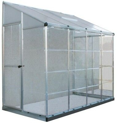 Palram Greenhouse Adjustable Roof 8 x 4 Silver Hybrid Aluminum Frame Outdoor New
