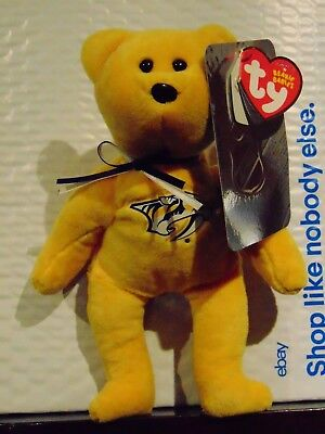 "2018 NEW NHL Nashville Predators  8"" Ty Beanie Baby Hockey Bear"