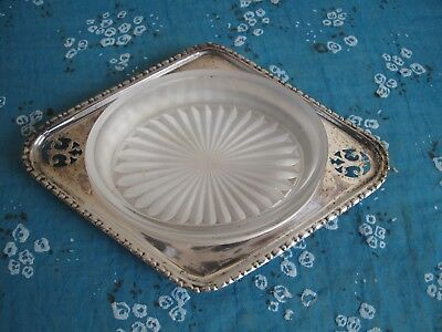 Antique Ashtray Silver Plated with Glass Plate