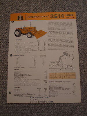 IH International Harvester 3514 Tractor Loader Brochure, original, vintage '65