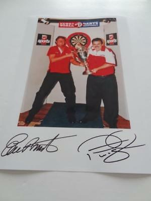 Darts Legends Eric Bristow & Phil Taylor Signed Reprint World Darts Champions