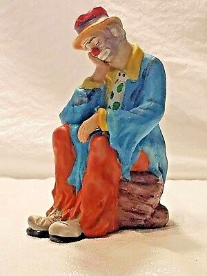 Flambro Emmett Kelly Clown Thinking  Porcelain ART Figurine Statue Collectible