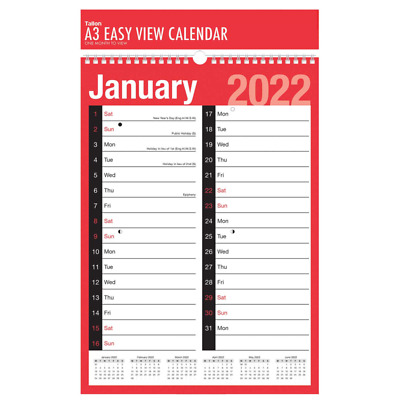 2019 Wall Calendar Slim / Easy Month To View / Large  Calendar Year Planner