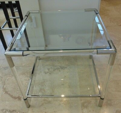 Mid-Century Tall Square Lucite Glass Coffee Table Charles Hollis Jones Style
